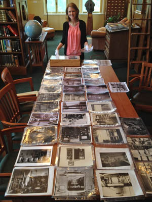 Photos arranged on table